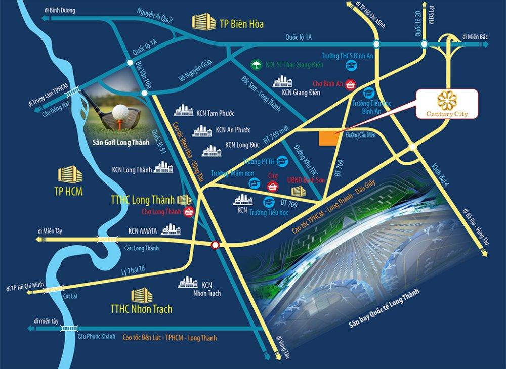 Vị trí dự án Khu đô thị Century City Long Thành